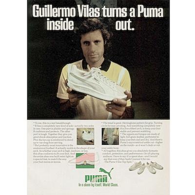 "6f78263f19e Puma Vilas Top Spin ""Guillermo Vilas turns a Puma inside out."""