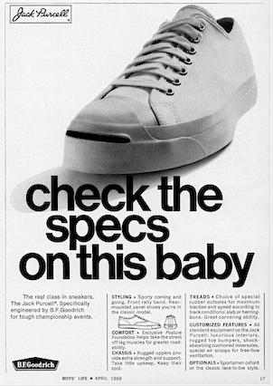 "B.F.goodrich Jack Purcell ""check the specs on this baby"""