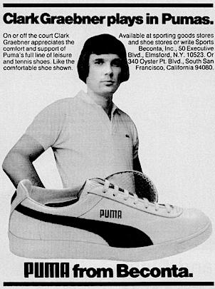 "PUMA tennis shoes ""Clark Graebner plays in Pumas."""