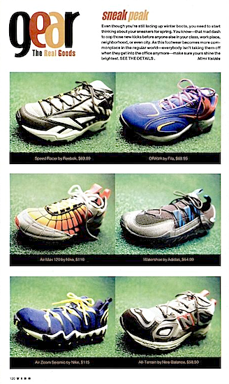 "Reebok Speed Racer, Fila DRAVA, Nike Air Max 120, Air Zoom Seismic, Adidas Watershoe, New Balance All-Terrain ""sneak peak Vibe February 1999"""