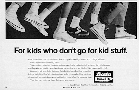 "Bata BULLETS ""For kids who don't go for kid stuff."""