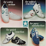 "Converse Chris Evert, All Star II, Tony Dorsett TD'S, World Class Trainer II ""for extra action. for added traction. for quick reaction. for pure satisfaction."""