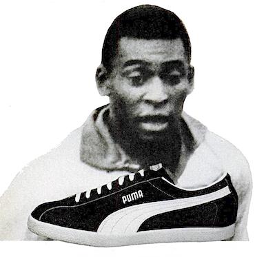 """PUMA soccer shoes """"Pelé plays in Pumas."""""""