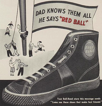 Ball Band Sports Shoes Whith The Red Ball On The Sole