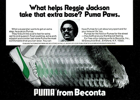 What helps Reggie Jackson take that extra base? Puma Paws.