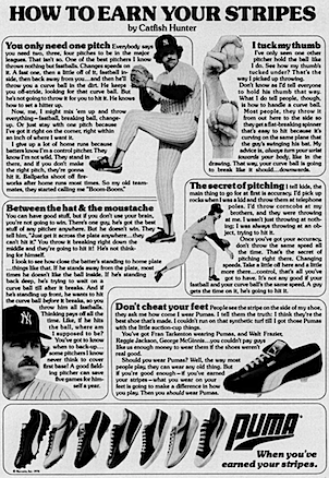 "PUMA baseball shoes ""HOW TO EARN YOUR STRIPES by Catfish Hunter"""