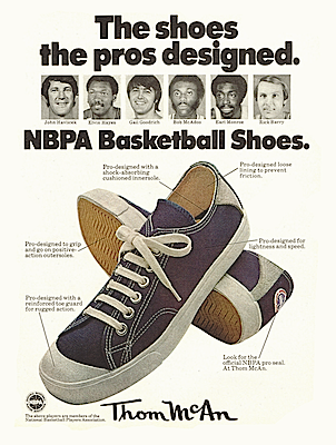 """Thom McAn NBPA basketball shoes """"The shoes the pros designed."""""""