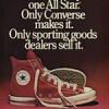 "Converse red canvas All Star ""There is only one All Star. Converse makes it. Only sporting goods dealers sell it."""