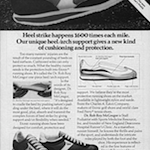 "Etonic KM running shoes ""Heel strike happens 1600 times each mile. Our unique heel/arch support gives a new kind of cushioning and protection."""