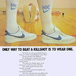 "Nike Killshot racquetball shoes ""ONLY WAY TO BEAT A KILLSHOT IS TO WEAR ONE."""