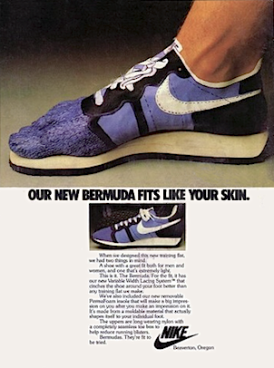 "Nike Bermuda training shoes ""OUR NEW BERMUDA FITS LIKE YOUR SKIN."""
