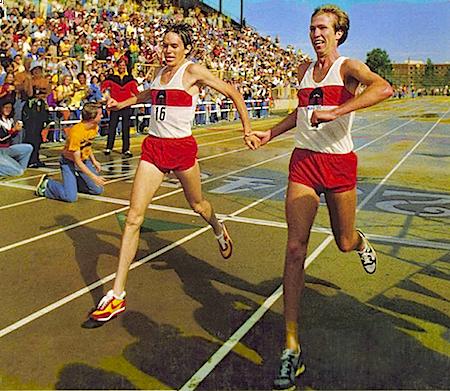 Tony Sandoval and Jeff Wells, NIKE-OTC Marathon September 9, 1979.