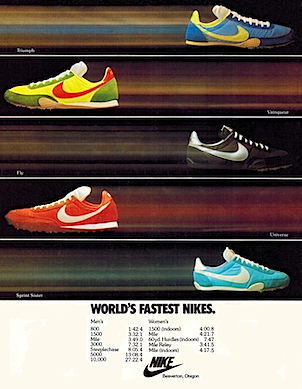 "Nike track spike ""WORLD'S FASTEST NIKES."""