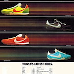 "Nike track spike, Triumph / Vainqueur / Fly / Universe / Sprint Sister  ""WORLD'S FASTEST NIKES."""