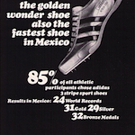 "adidas Azteca Gold track shoes ""the golden wonder shoe also the fastest shoe in Mexico"""