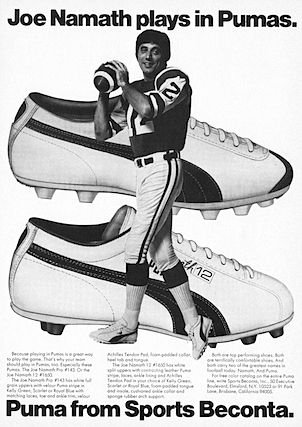 Puma Joe Namath #143 / #1650 football shoes