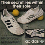 "adidas Grand prix / Bettina tennis shoes ""Their secret lies within their sole."""