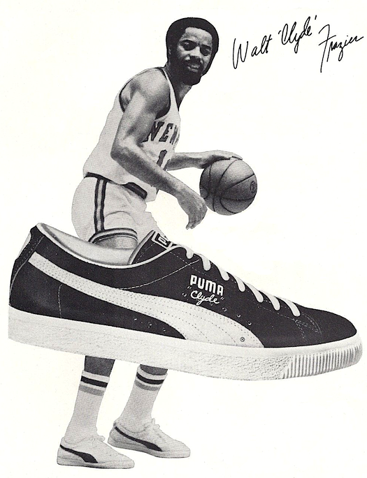 Walt 'Clyde' Frazier and Puma Clyde basket shoes