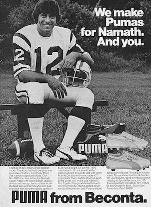 Puma Joe Namath football shoes
