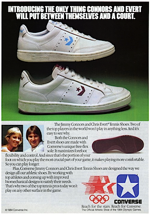Converse Chris Evert and Jimmy Connors tennis shoes