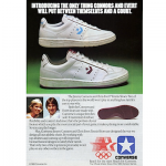 "Converse Chris Evert and Jimmy Connors ""Introducing the only thing Connors and Evert will put between themselves and a tennis court."""