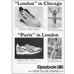 "Reebok London / Paris running shoes """"London"" in Chicago / ""Paris"" in London"""