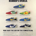 "Nike Elite / Sting / Vainqueure / LD1000 / Waffle Trainer / Boston 73 / Nylon Cortez ""A FOOTNOTE TO LAST MONTH'S ISSUE OF RUNNER'S WORLD."""